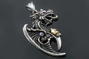 Saphira Golden Skull Gothic Axe Dragon 2 Tone Silver Pendant PT-020G