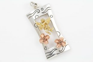 Serenade Singing Angel and Flowers Gold & Silver Pendant PT-167