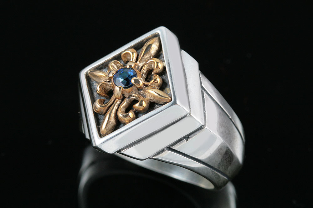 Sergius Gothic Style Silver Two Tone Ring With Sapphire MR-048