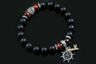 Sheep Wheel & Golden Key Charm 10mm Onyx & Red Tiger Eye Beaded Bracelet BB-076