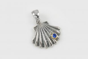 Shell Blue Zirconia Silver Charm Pendant CH-084