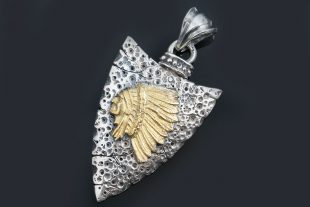Sioux Native American Oxidized Silver & Bronze Pendant PT-072