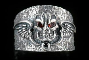 Skull & Wings Sterling Silver Ring MR-017