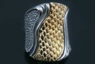 Snake Skin Two Tone Oxidized Silver Modern Ring LR-127