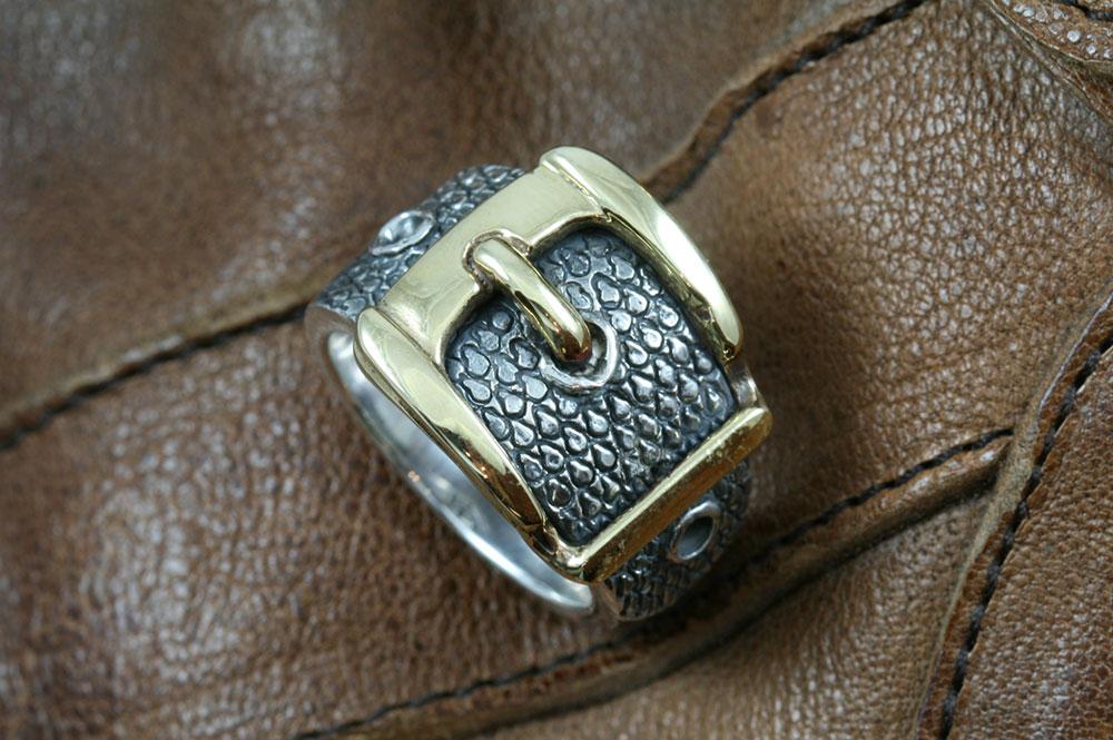 Snake Skin Belt Buckle Silver Modern Two Tone Ring LR-099