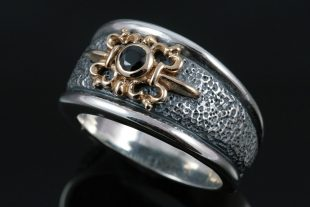 Spartan Bronze & Onyx Band or 18K Gold & Black Diamond Sterling Silver Ring MR-047