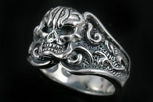 Spider Skull Sterling Silver Ring UR-020