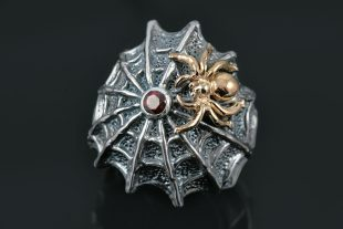 Spider Web Red Garnet Two Tone Oxidized Silver Gothic Ring LR-080