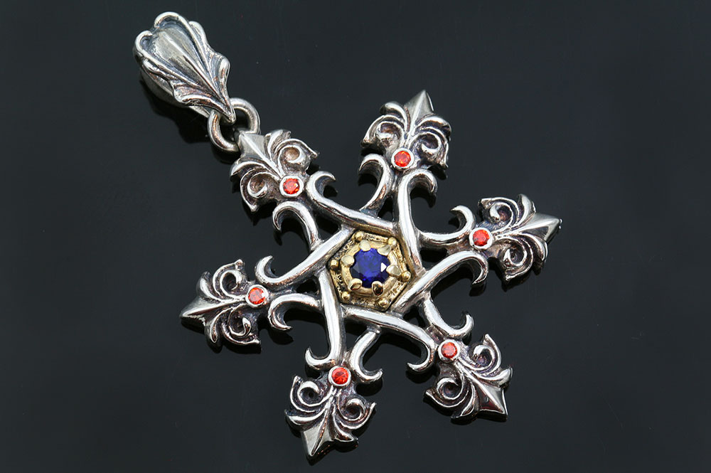 Star of David Gothic Cross Two Tone Silver Pendant PT-069