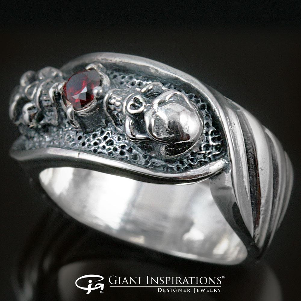 Sterling Silver Engagement Skull Rings For Men