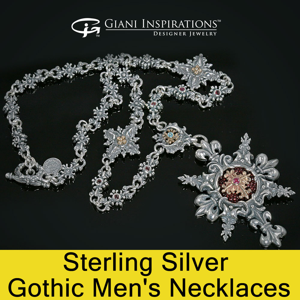 Sterling Silver Gothic Men's Necklaces