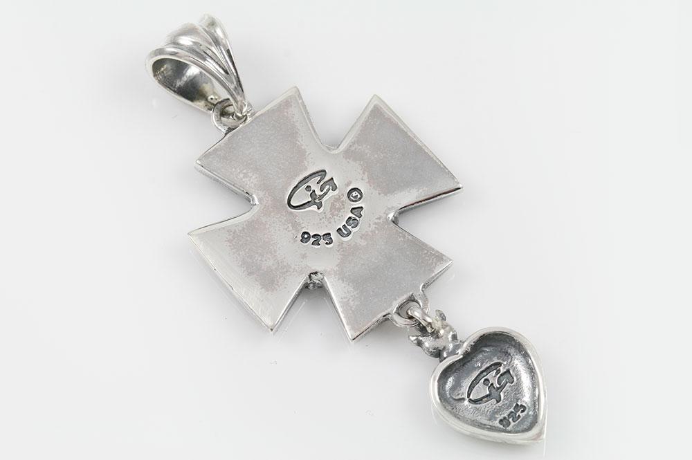Stone Cross with Angel 2 Tone Bronze & Silver Pendant PT-075