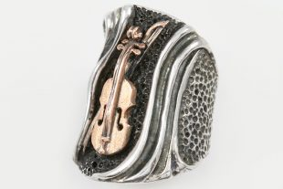 Stradivarius Violin Long Modern Two Tone Silver and 14K Gold Ring LR-102