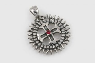 Sun Cross Solar Wheel Red CZ Silver Charm CH-016