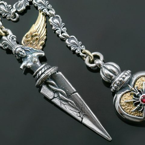 Sympathy Heart and Angel Dagger Silver Necklace NK-139