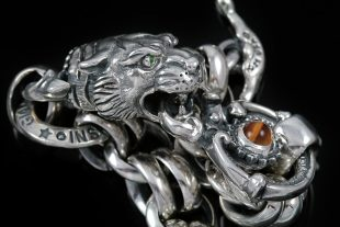 Tiger Head Sterling Silver Chain Link Bracelet BR-012