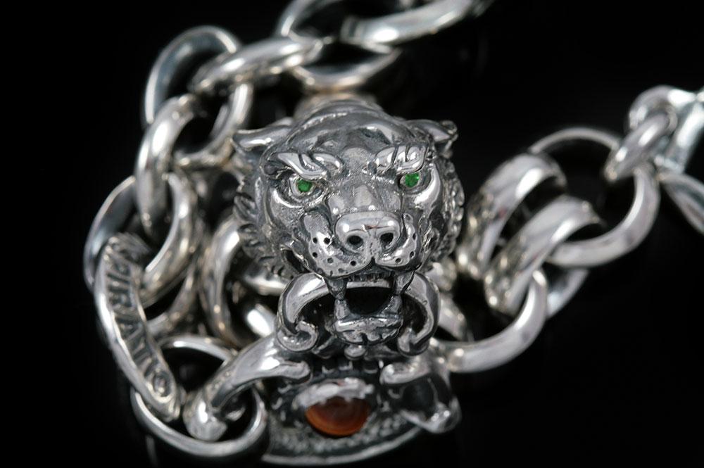 Tiger Head Sterling Silver Chain Link Bracelet BR-012