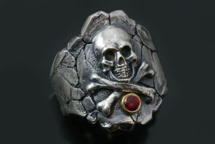 Treasure Island Skull and Bones Oxidized Silver Pirate Ring UR-128