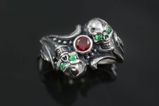 Twins CZ Eyed Skull Gothic Oxidized Silver Ring UR-131