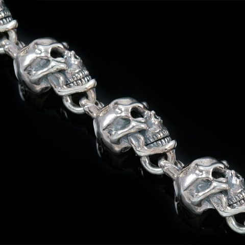 Twisted Skull Chain Sterling Silver Bracelet BR-014