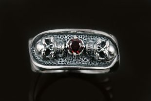 Two Skulls Red CZ Sterling Silver Ring MR-018