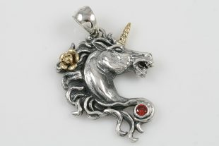 Unicorn Red Garnet Two Tone Silver Pendant PT-078