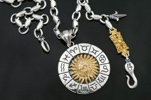 Universe & God Zodiac Sun Two Tone Silver Tag Pendant PT-165
