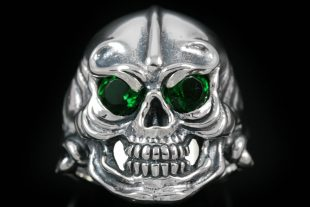 Warrior Skull Red or Green Eyed Silver Ring MR-007