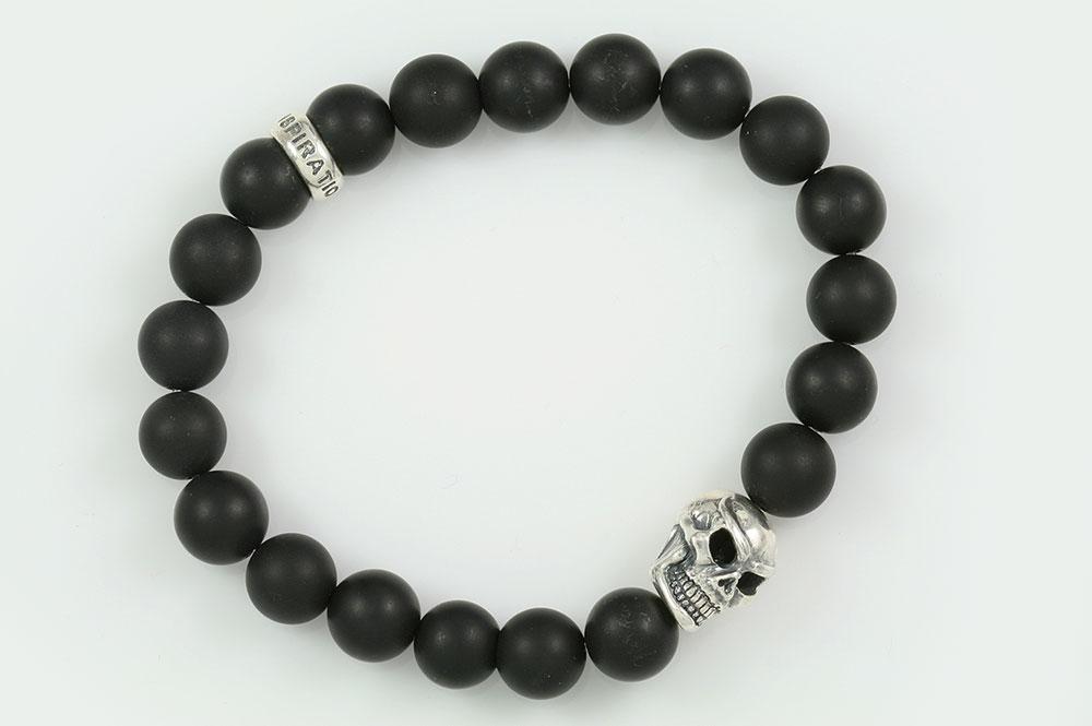 Silver Warrior Skull Matte Black Onyx Beaded Bracelet BB-056