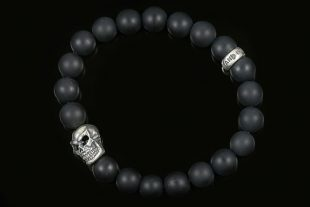 Silver Warrior Skull Matte Black Onyx Beaded Bracelet BB-056