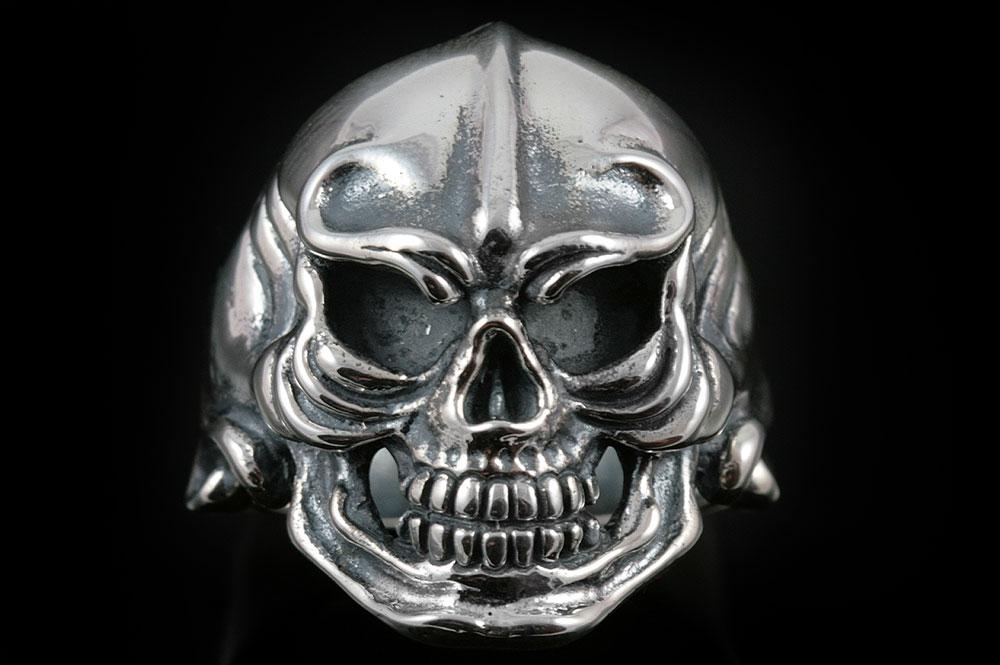 Warrior Skull Silver Ring MR-006