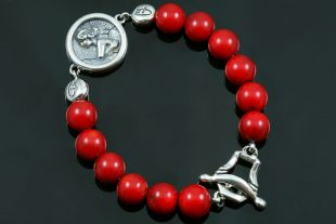 Woman Medallion Charm 10mm Red Coral Beaded Bracelet BB-087R