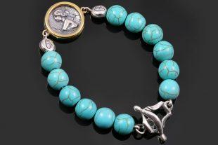 Woman Medallion Charm 10mm Turquoise Beaded Bracelet BB-087T