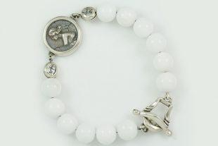 Woman Medallion Charm 10mm White Jade Beaded Bracelet BB-087W